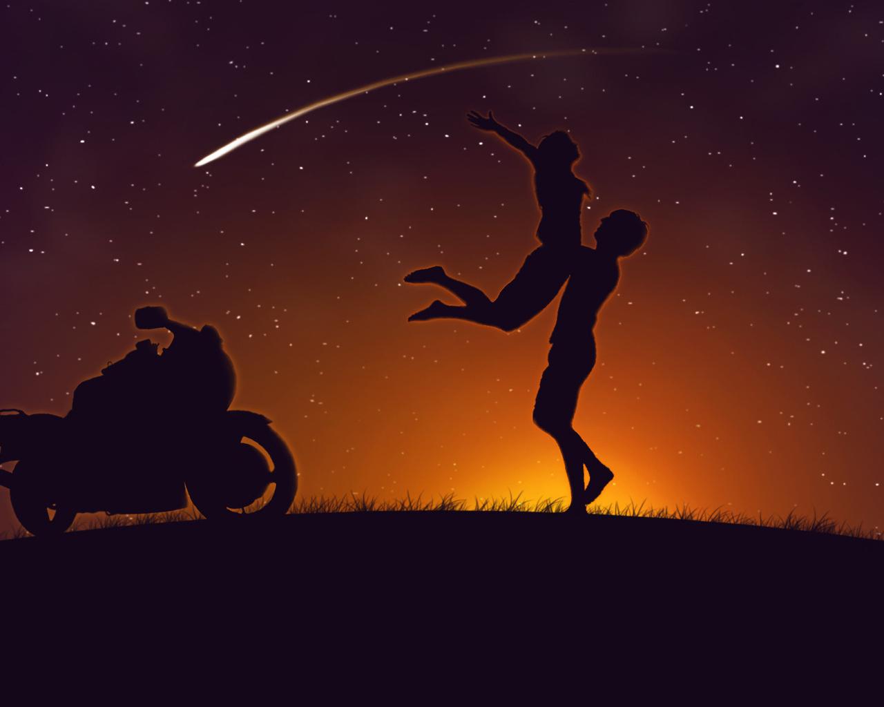 Двое, любовь, мотоцикл, kawasakizzr400, комета, романтика, нежность, чувства, влюбленные, пара, страсть, любовь, свидание, встреча, мужчины, женщины