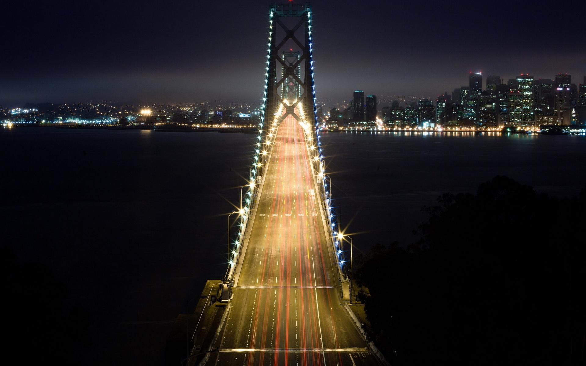 Картинка ночной город с мостом сити