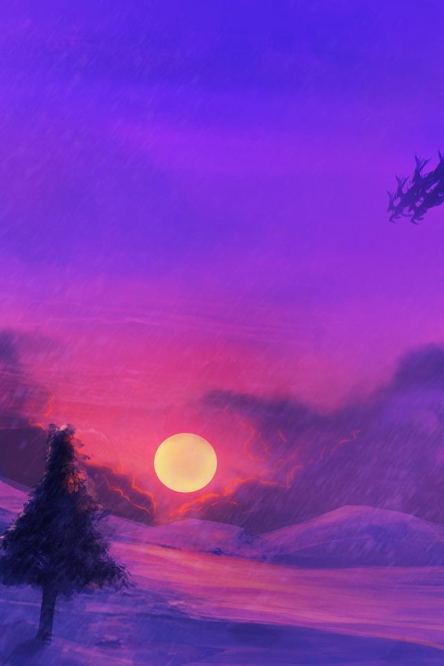 елки, солнце, санта, небо, сани, снег, Закат, новый год, дед мороз, праздники, сантаклаус, луна