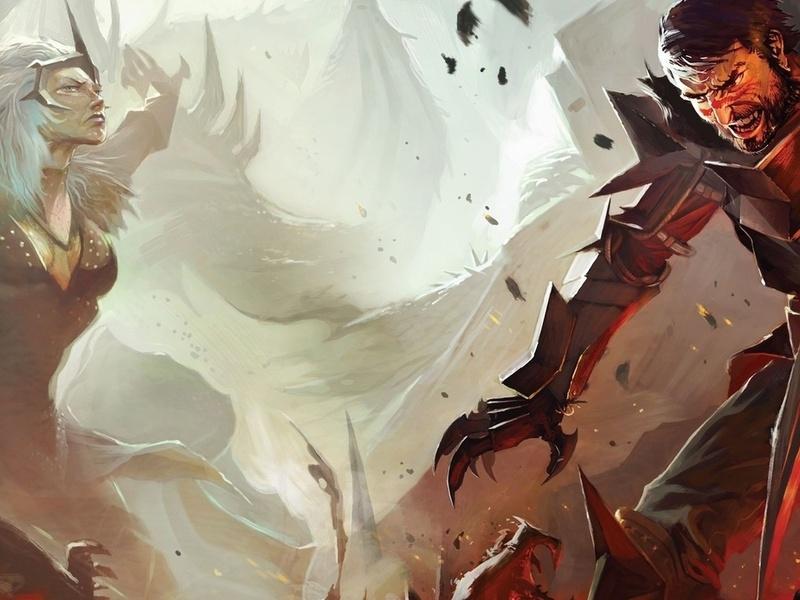 Dragon age, hawke, 2, darkspawn, воин, когти, бой, сражение, битва, агрессия, экшен, рисунки, аниме, мужчины-а, женщины-а