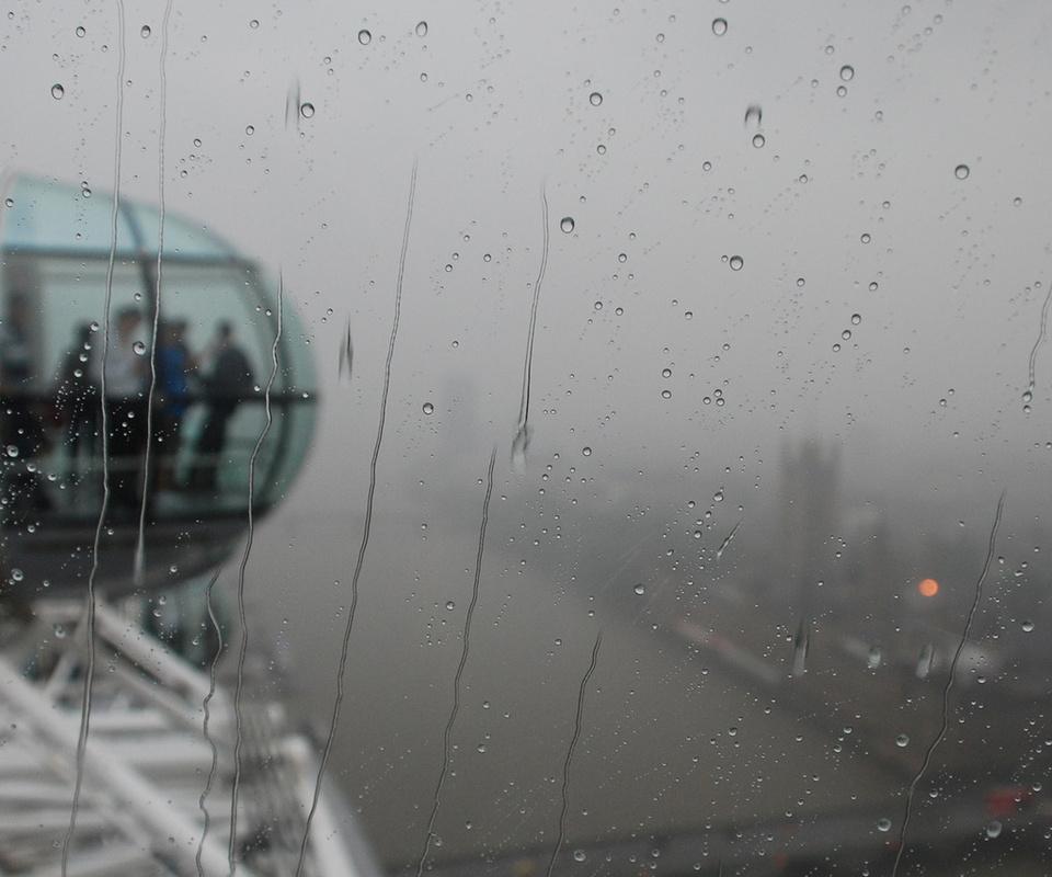 Город, city, дождь, стекло, london, лондон, люди, аттракцион, вертольот, туман, дождь, капсула, река, вода, мост, лондон, биг бен