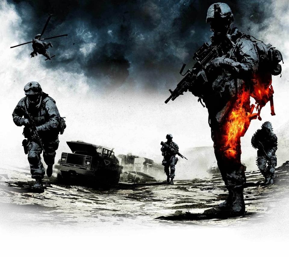 Battlefield, bad, company, 2, война,пламя,игра,оружие,техника, сражения, рисунки, аниме, мужчины-а