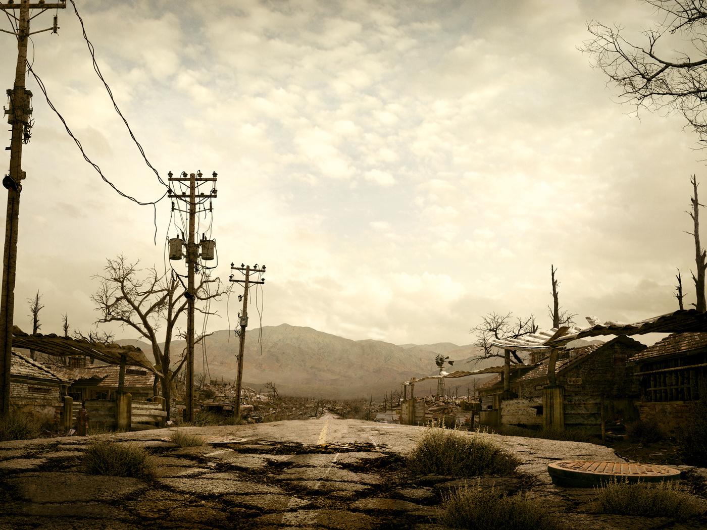 дорога, трава, руины, постапокалипсис, горы, ветряк, дома, столбы, провода, серость, fallout 3
