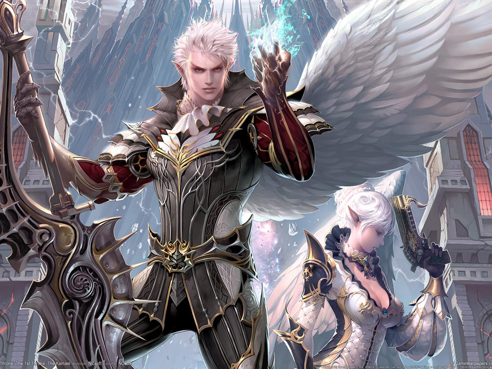 магия, город, Lineage, 2, воин, камаэль, крылья, меч, оружие, рисунки