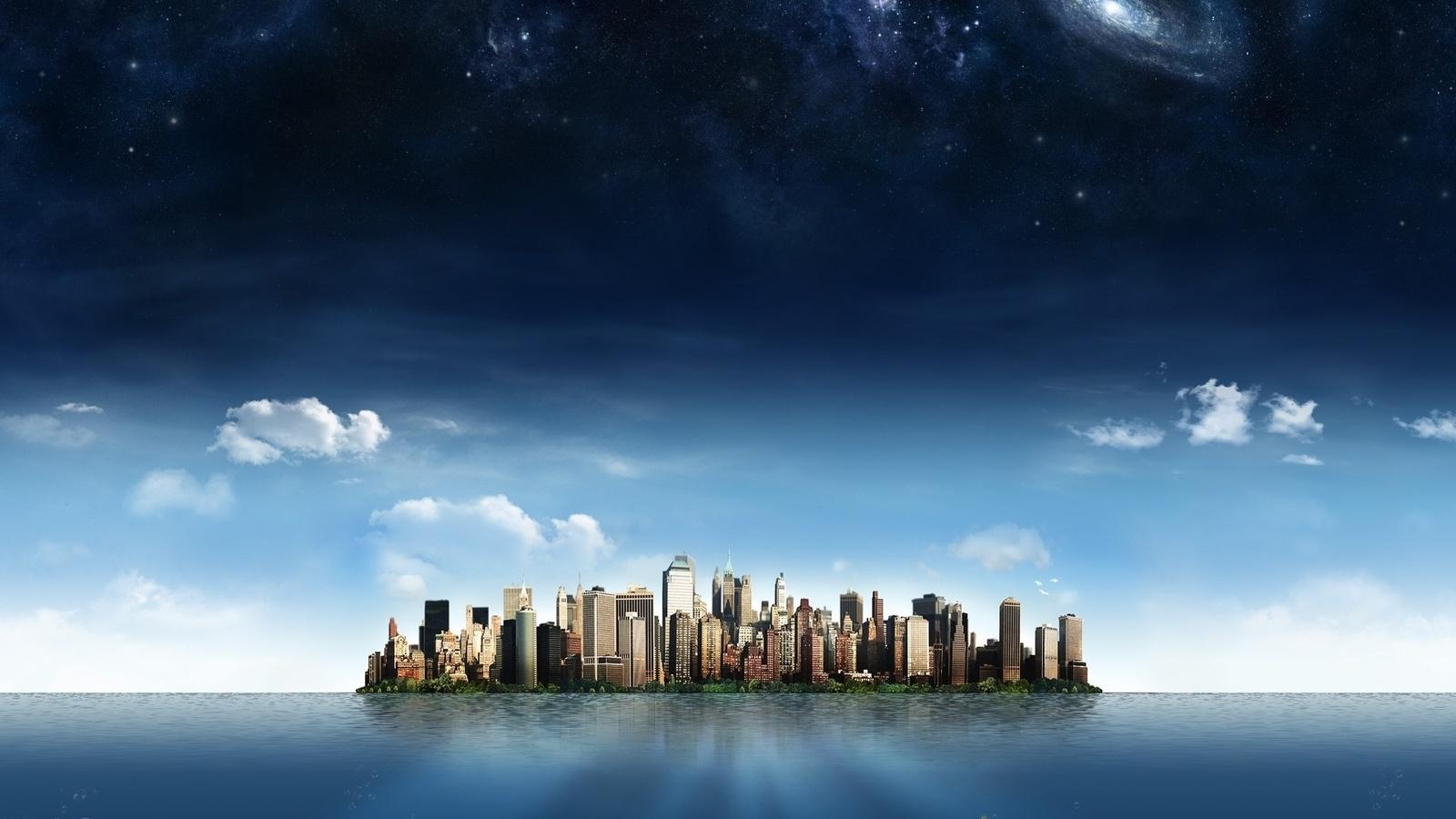 облака, небоскребы, океан, небо, город, Остров