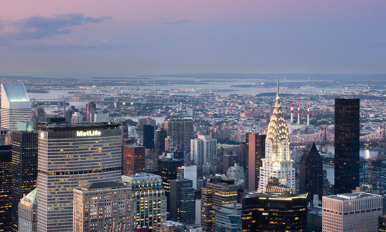 огни, небо, дома, здания, река, облака, мост, Город, new york