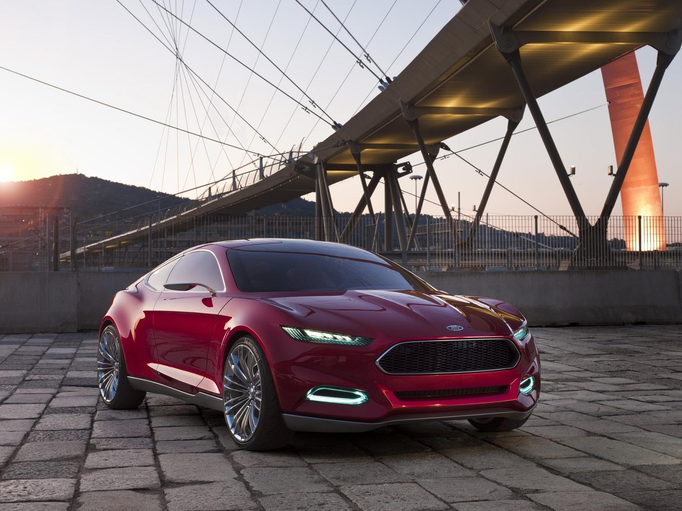 фары, evos, форд, concept, передок, красный, эвос, Ford, концепт