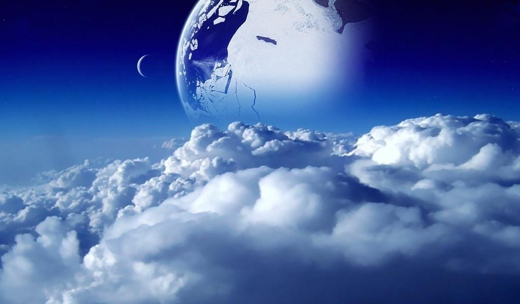 луна, облака, небо, планета, Космос, голубой, space, синий