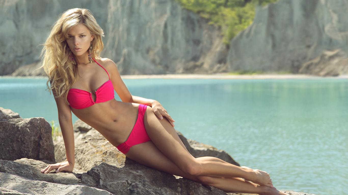 камни, Девушка, danielle kn, купальник, море, пляж