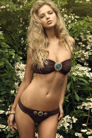 Danielle kn, купальник, девушка, блондинка, цветы, модель