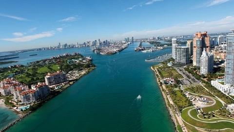 океан, Майами, город, небо
