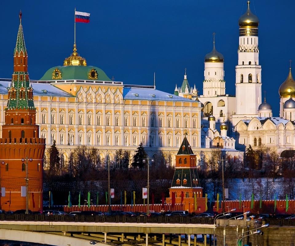мост, город, столица, флаг, россия, Москва, moscow, кремль