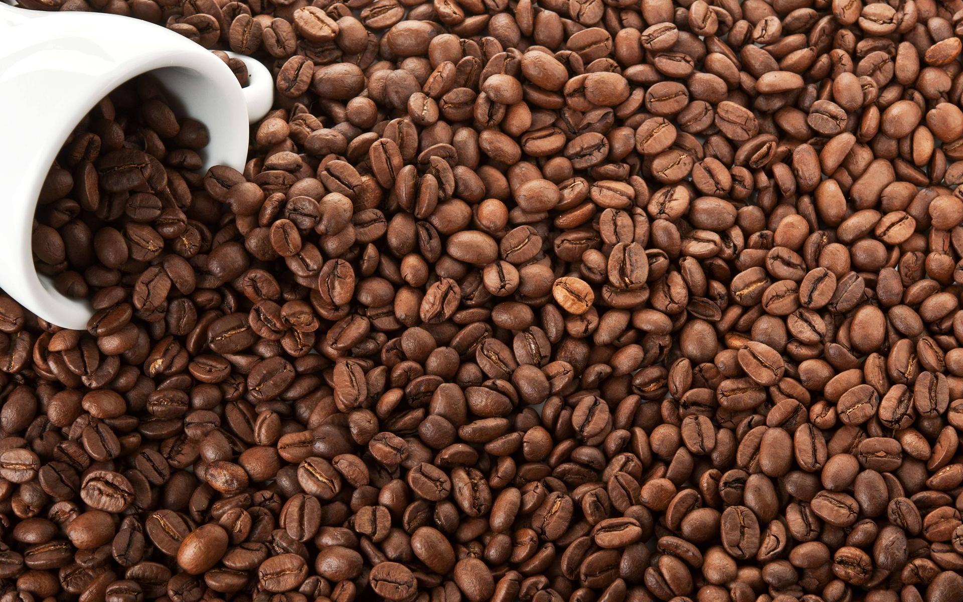 белая, кофе, coffee, зерна, чашка