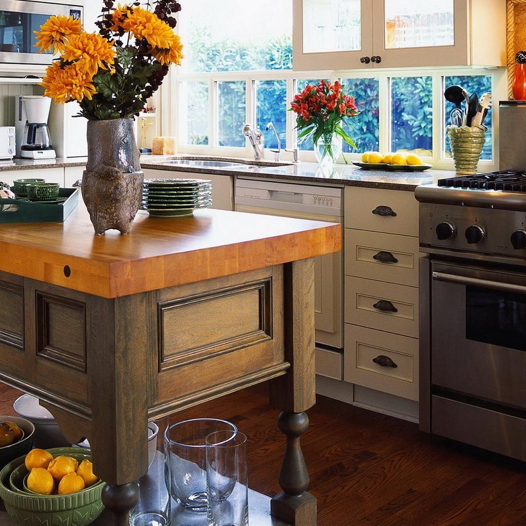 Интерьер, стиль, цветы, кухня, плита, стол, посуда