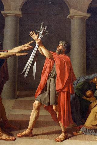 jacques-louis david, swords, oath, rome, painting, Le serment des horaces, brothers