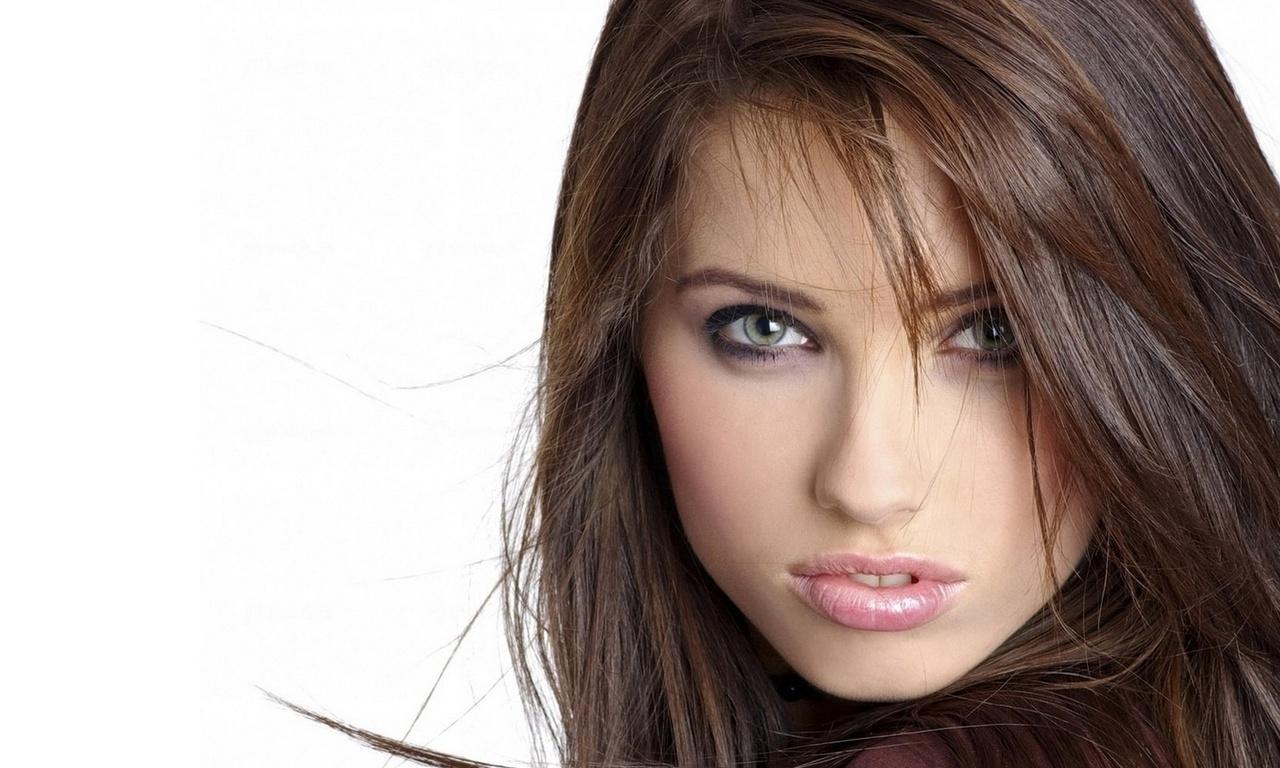 красивая, лицо, волосы, глаза, губы