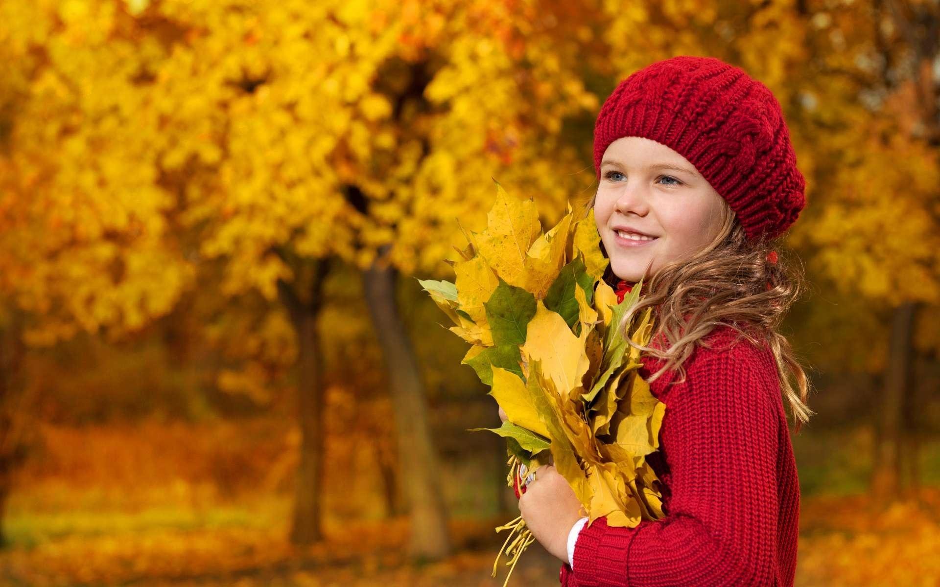 девочка, ребенок, осень, листья