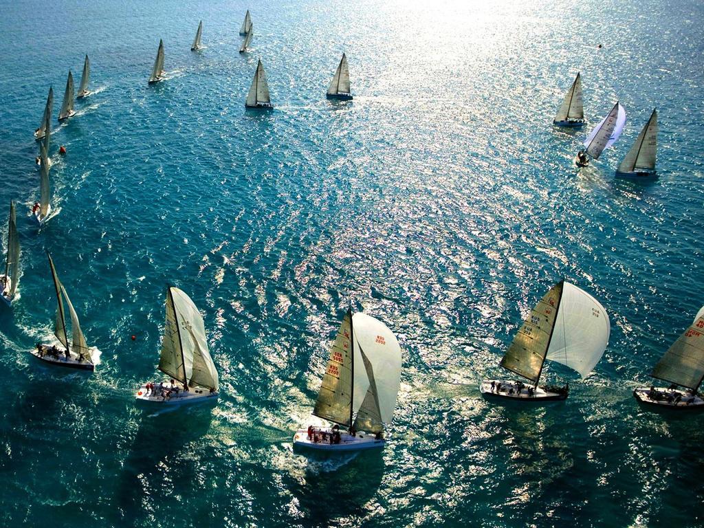 море, океан, мачты, яхты, паруса
