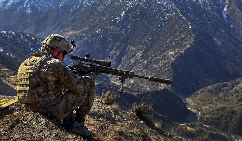 прицел, армия, снайперская винтовка, Военные, снайпер