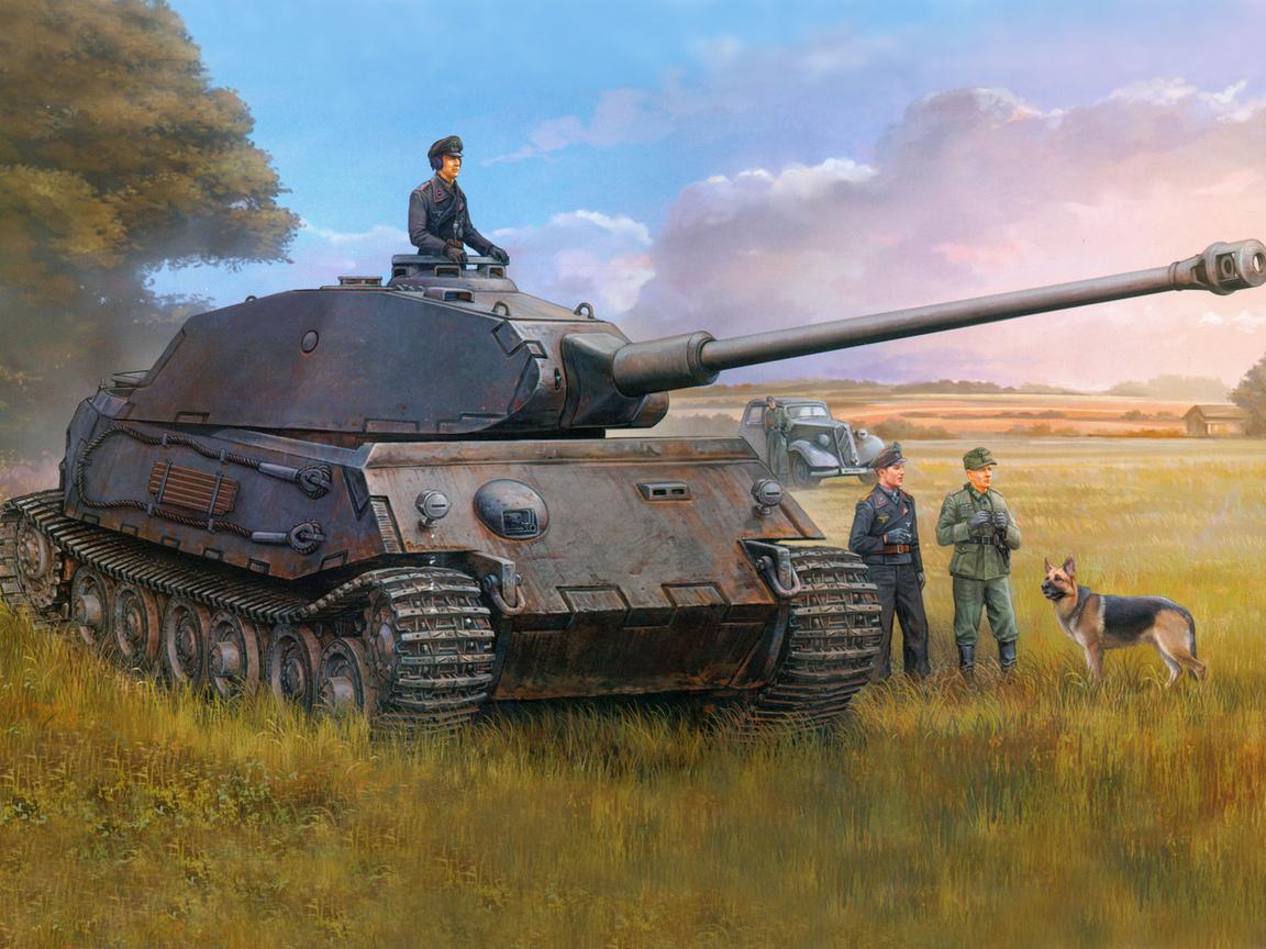 vk4502(p, тяжёлый, танк, Рисунок, немецкий