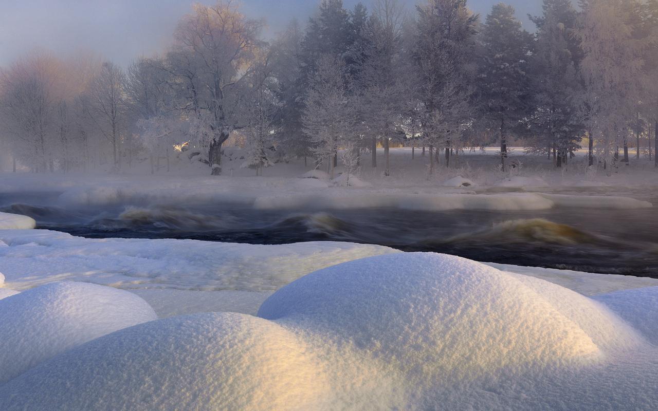 "зима, sweden, река, h""lsingland, швеция, voxnan river"