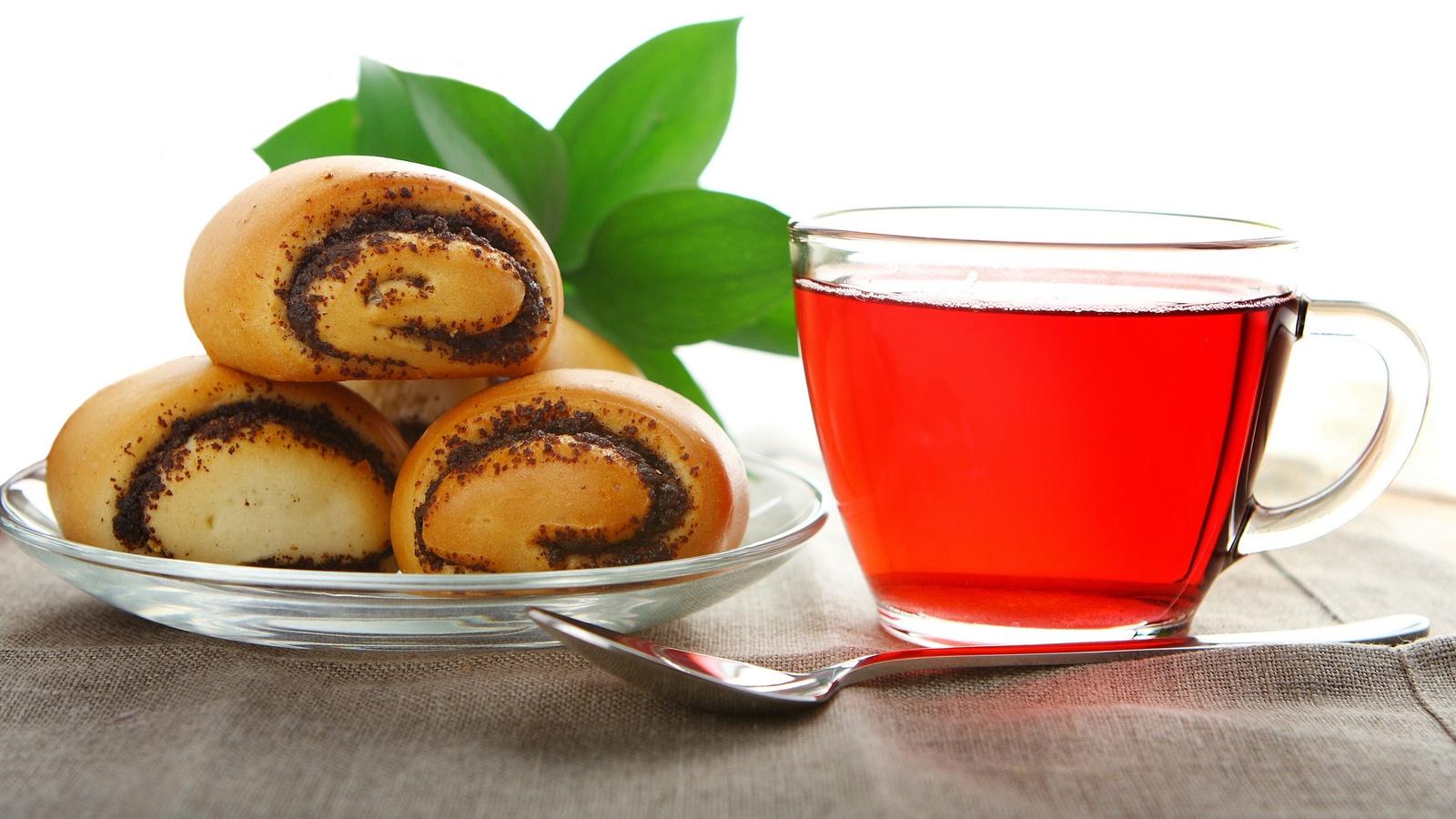 tea, стекло, Чай, ложка, чашка, булочки, мак, блюдце