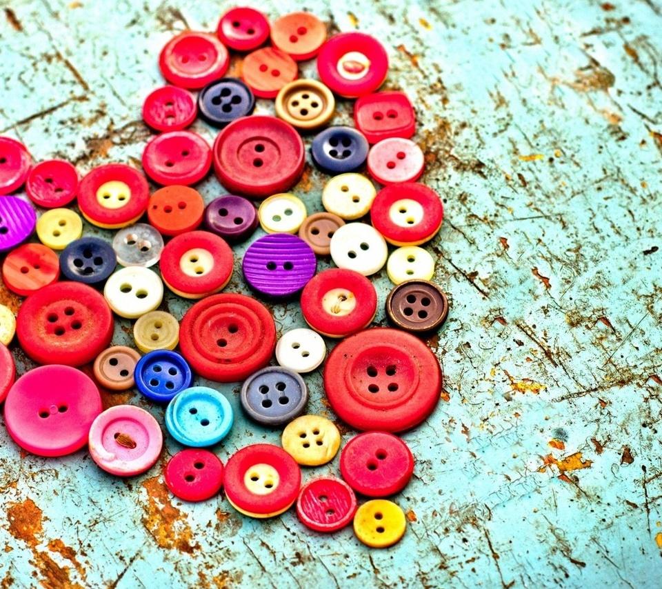 пуговицы, разноцветные, сердце, стол