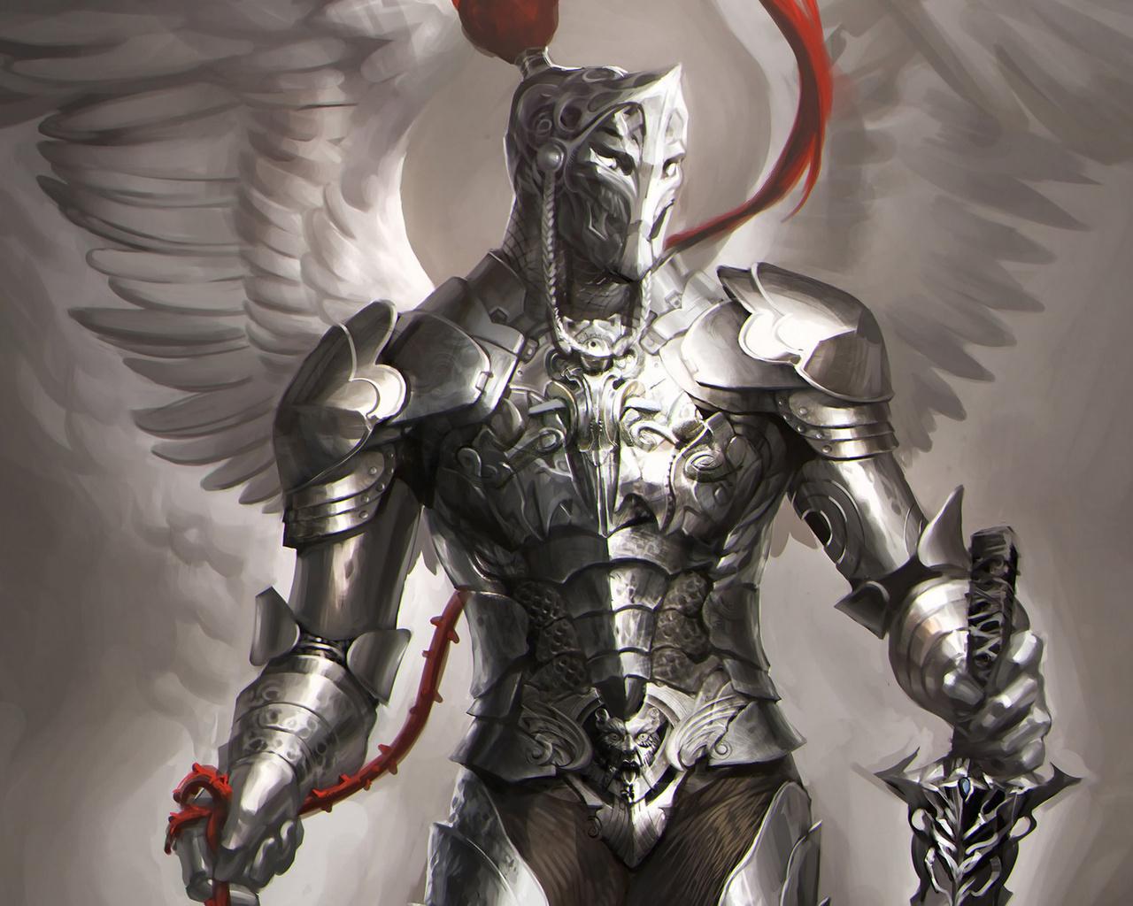 крылья, sakimichan, рыцарь, Арт, доспехи, оружие, ангел, меч