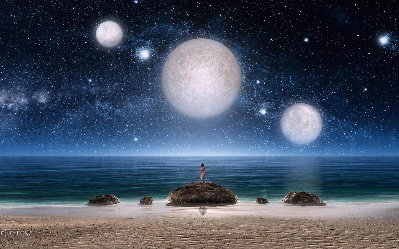Арт, девушка, фантастика, море, ночь, камни