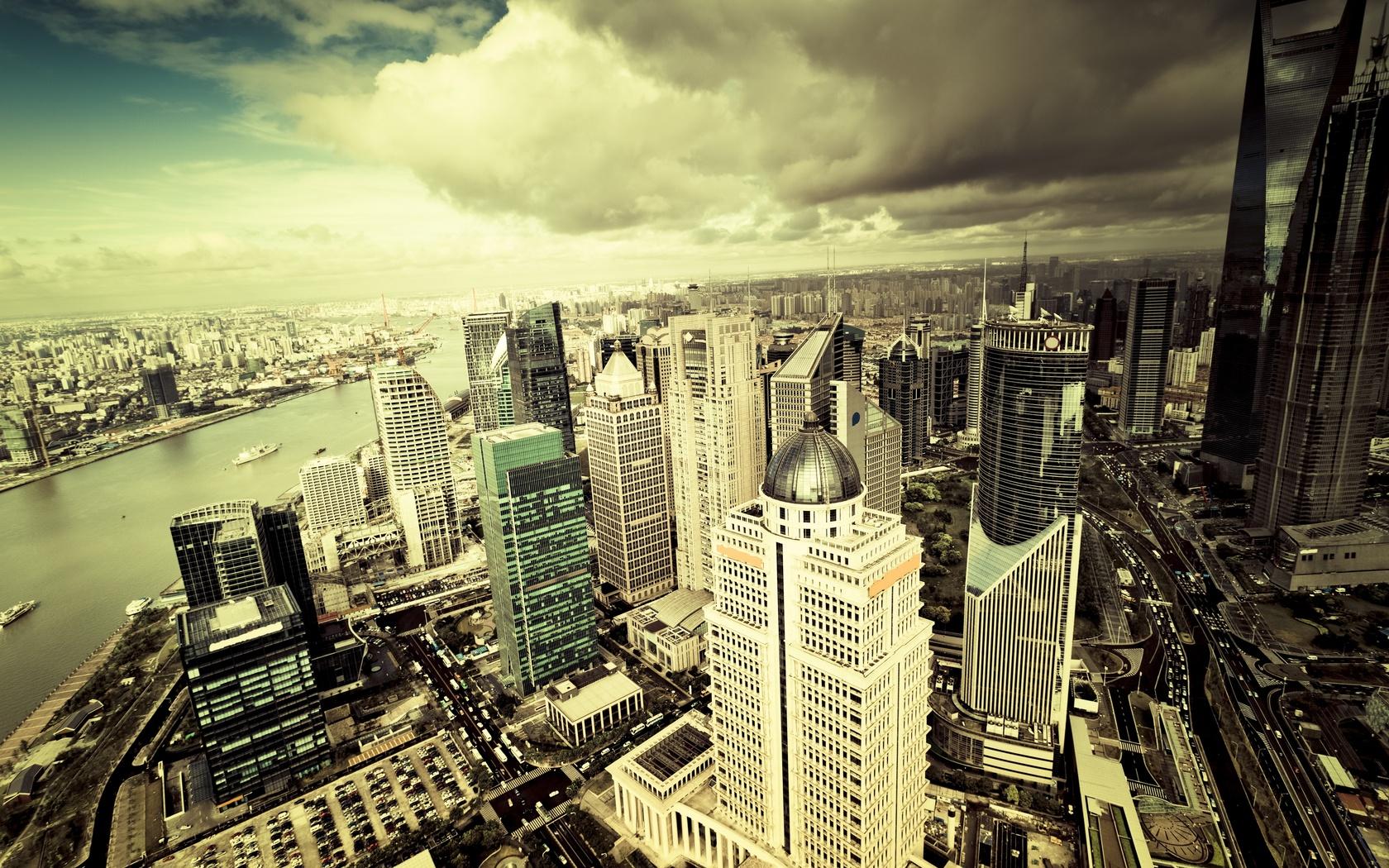облака, здания, City, небоскребы, мегаполис, город, небо