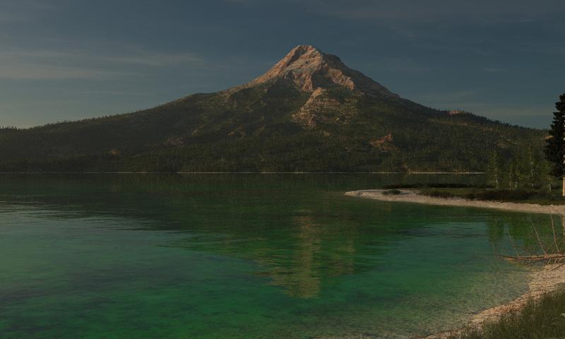 гора, деревья, озеро, лес, Арт, вода, природа