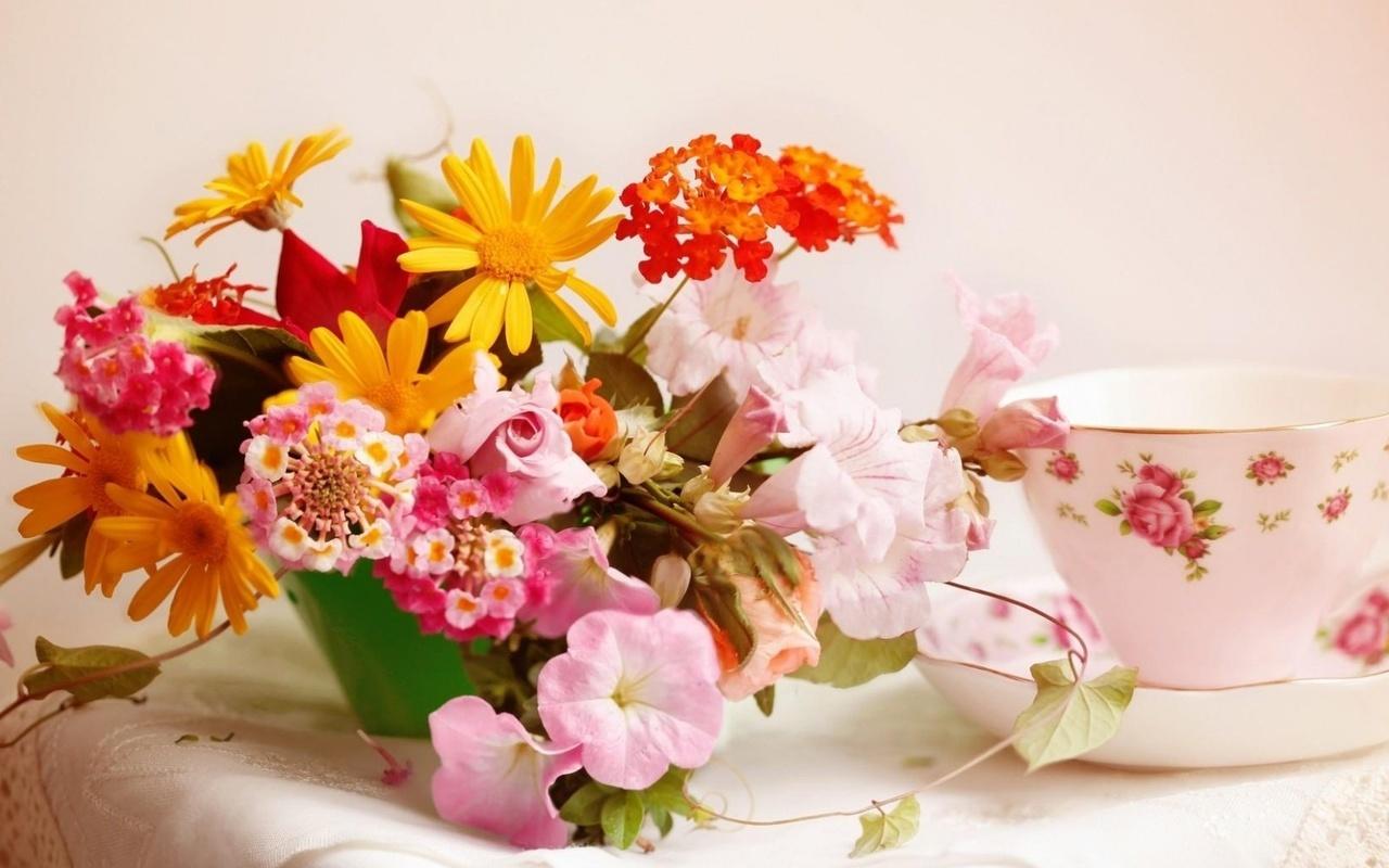 доброе утро, чашка, узоры, цветы