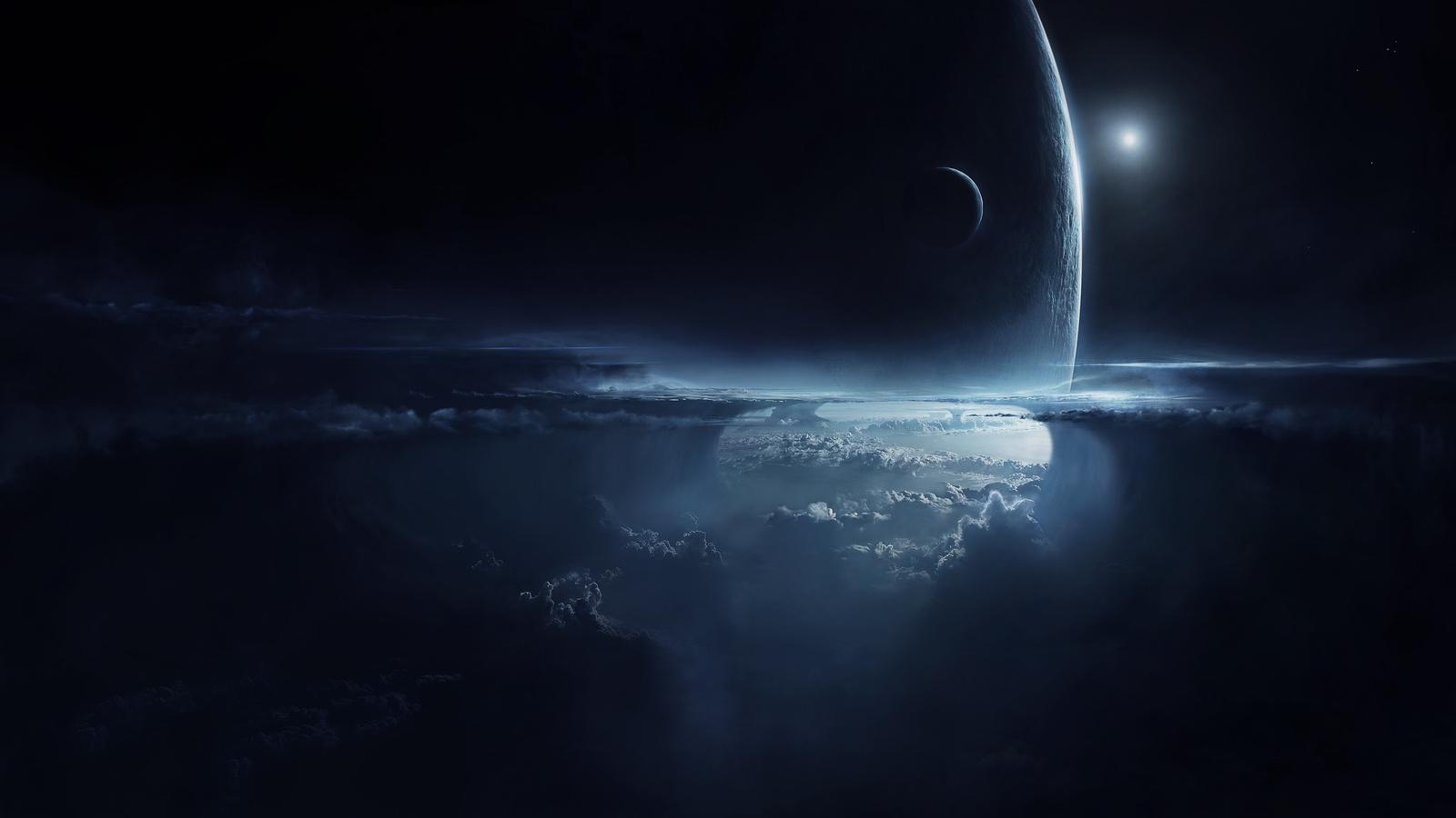 небо, планета, облака, спутник, Арт, ночь, атмосфера