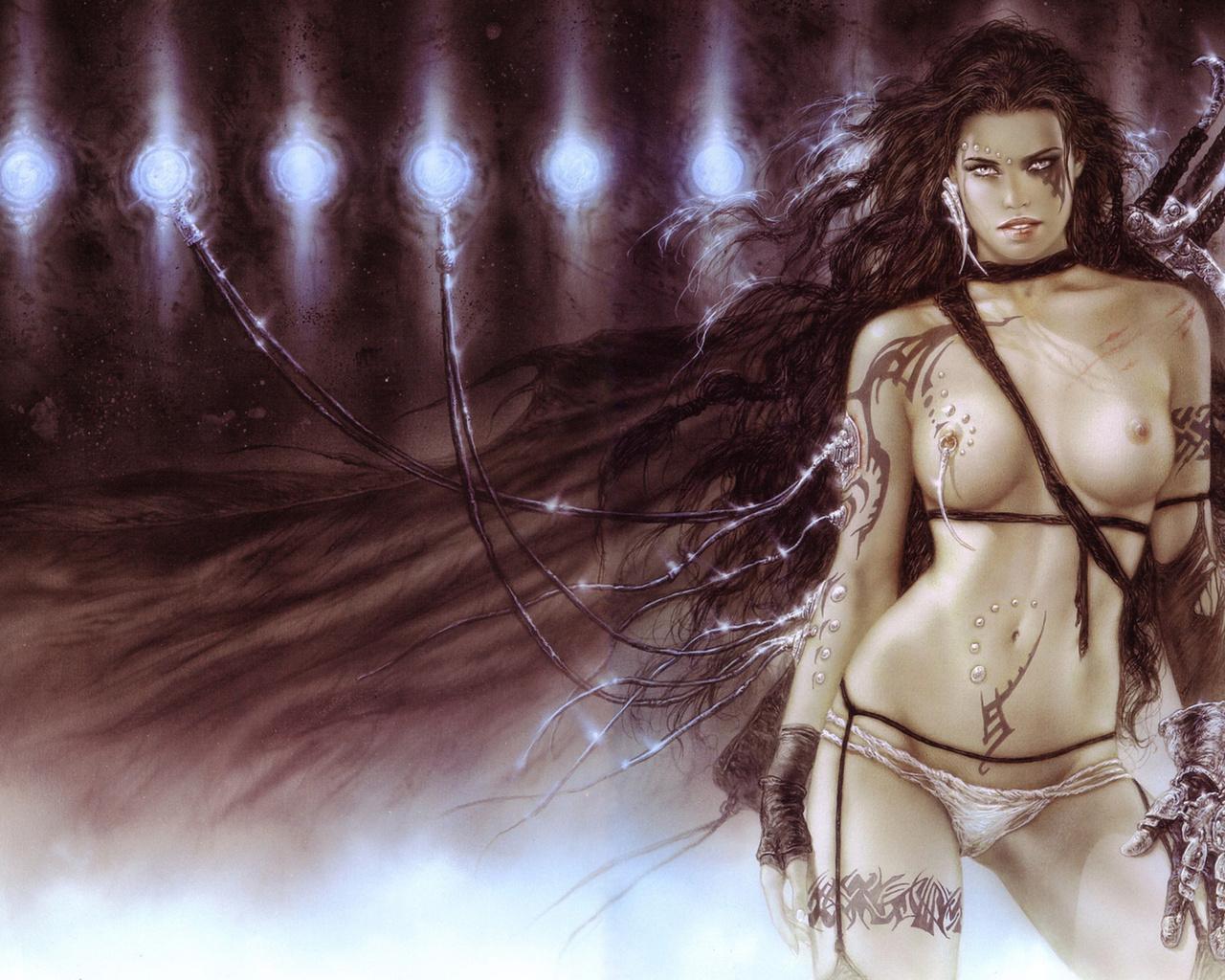 девушка, тату, меч, фентези, поза, стойка, взгляд, грудь, провод, цепи, провода, наручи, голая