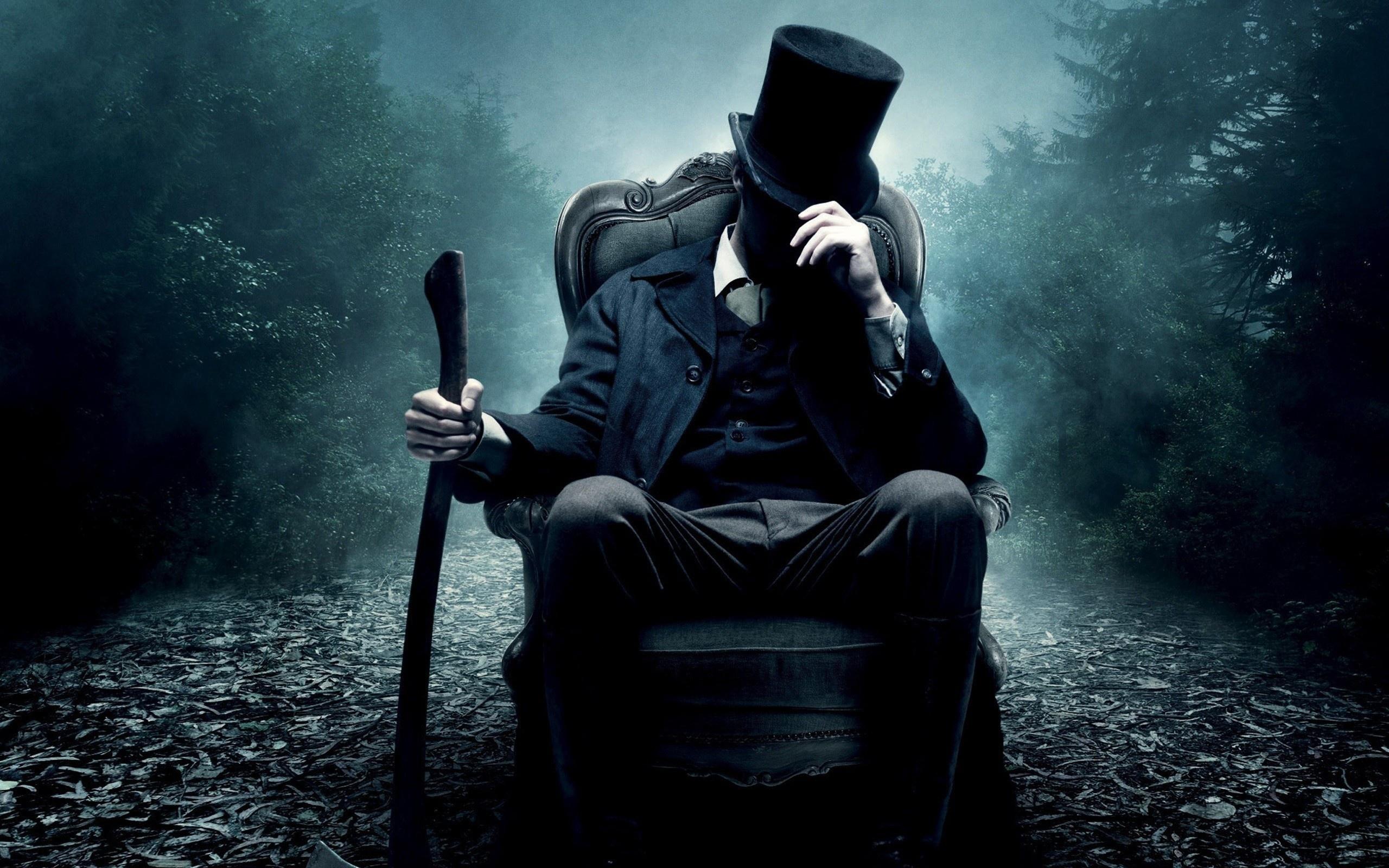 vampire hunter, кресло, цилиндр, Abraham lincoln, топор