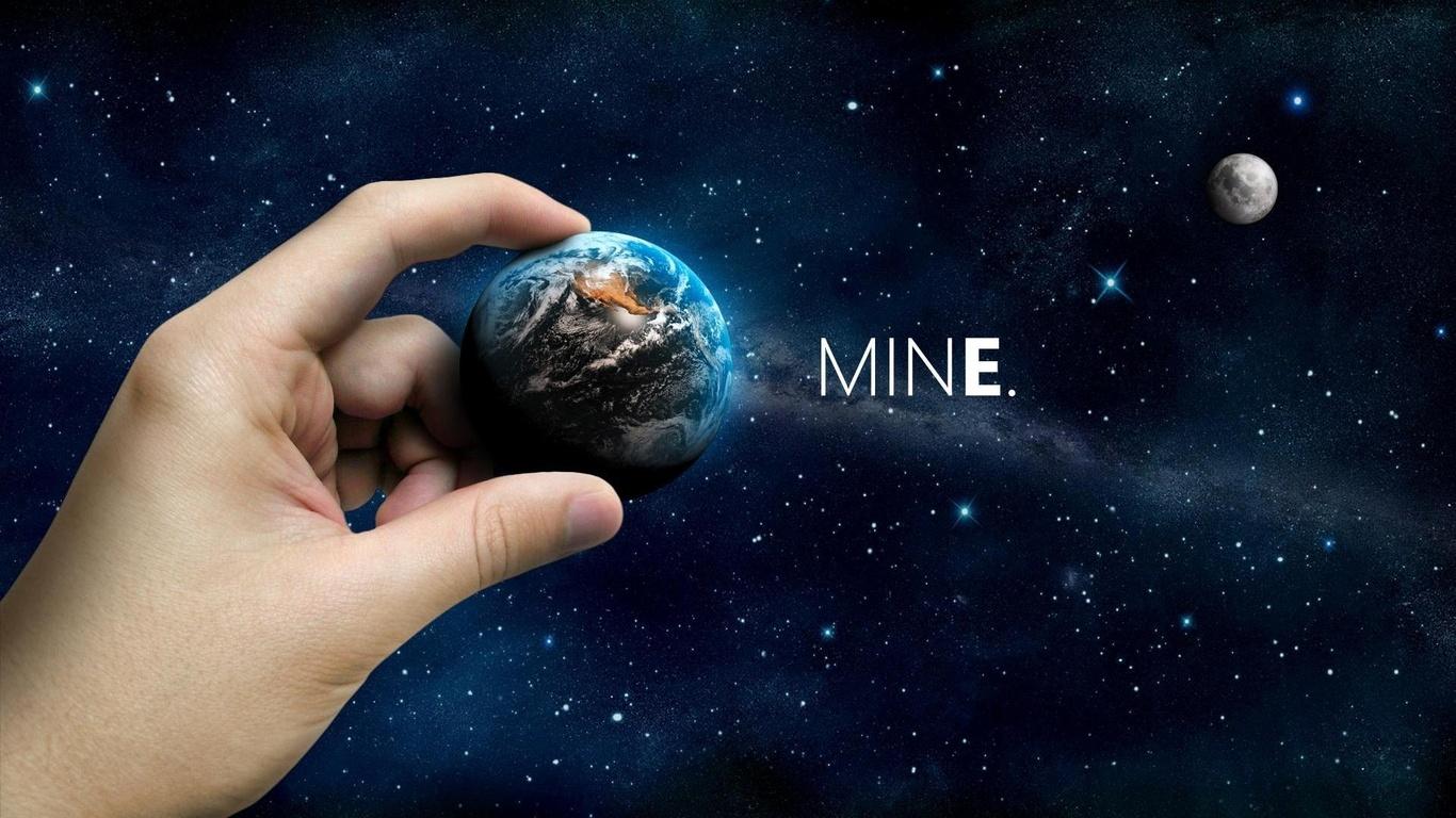 луна, Космос, планета, space, рука, небо, mine space, звезды