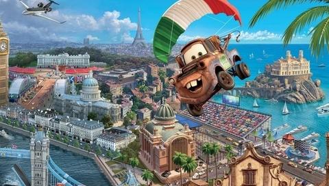 walt disney, sport, france, racing, Cars 2, world grand prix, tokio drift, pixar, animated film