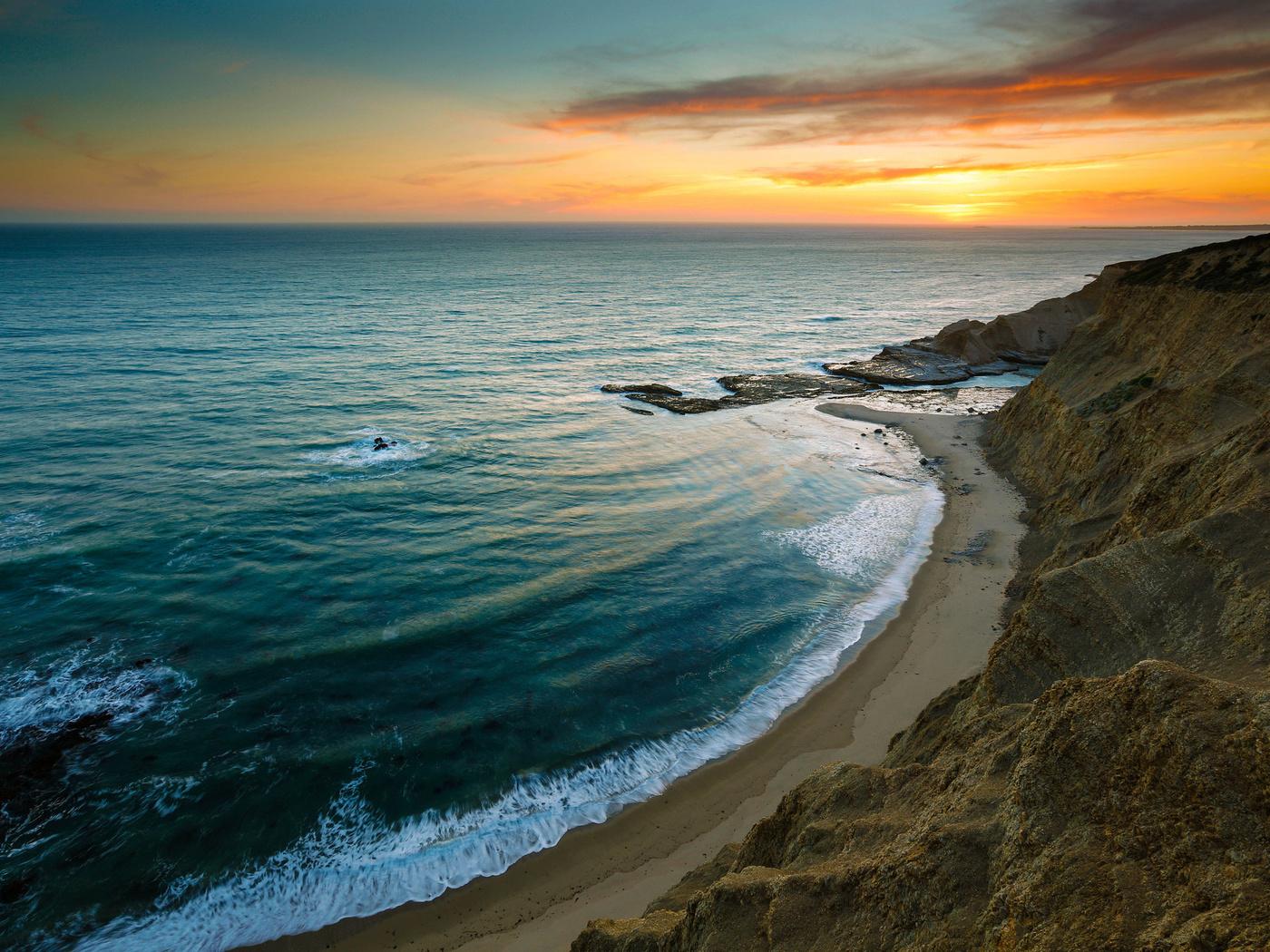 скалы, волны, небо, пляж, Море, закат, берег