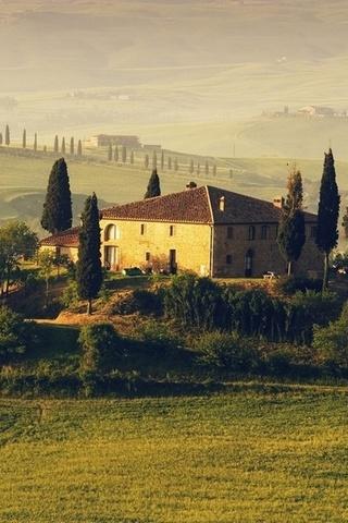 деревья, таскания, дом, поля, italy, Италия