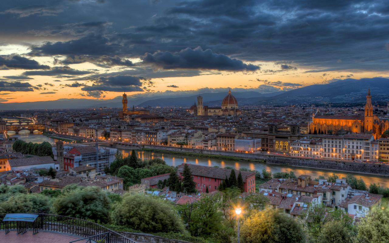 вечер, тоскана, Италия, панорама, флоренция, закат
