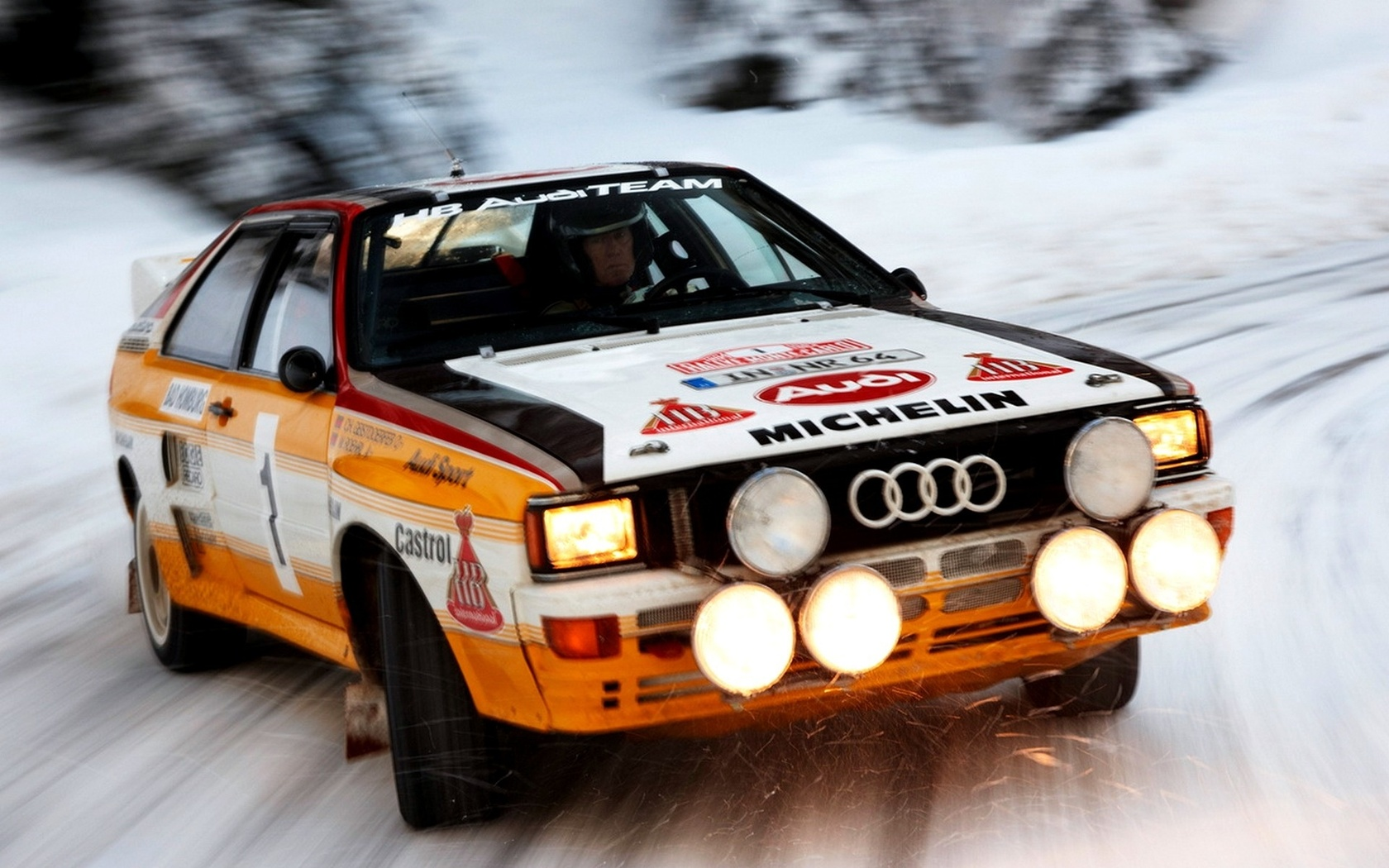 Car, audi, wallpapers, light, quattro, автомобиль, rally, car, speed, snow, group b