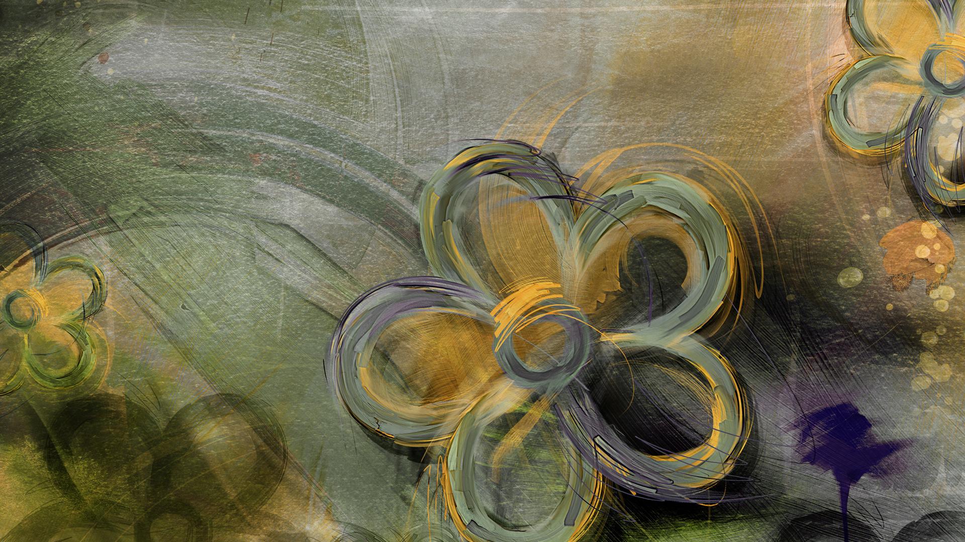нарисованные, зелёные, желто, Цветы