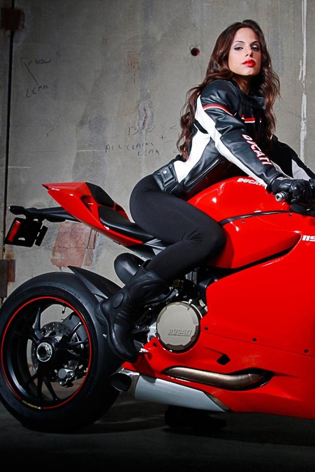 красный, девушка, Ducati, байк, дукати