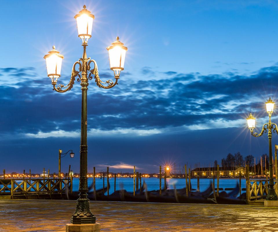 венеция, фонари, Venice, италия, тучи, вечер, italy, площадь