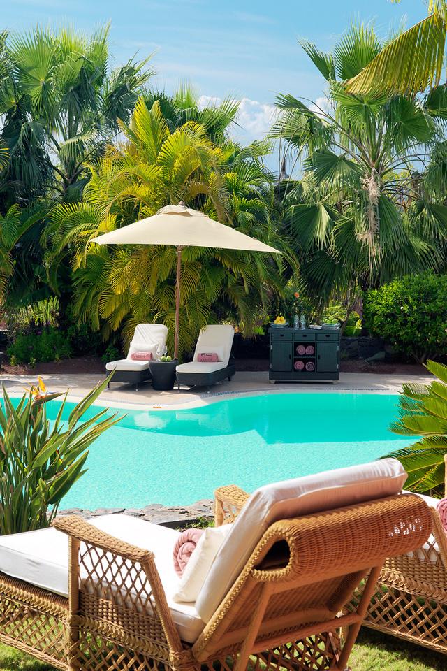 кресла, тумба, Pools, лежаки, диван, пальмы., бассейн