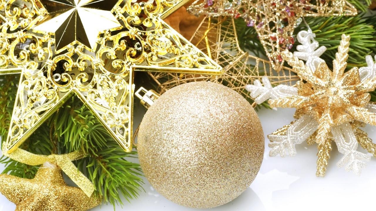 золотой, ветка, украшения, Шар, снежинки, звезды