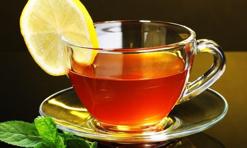 чашка, лимон, черный фон, lemon, Чай, tea, блюдце, стекло