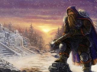 гном, мушкет, ружьё, зима, руины