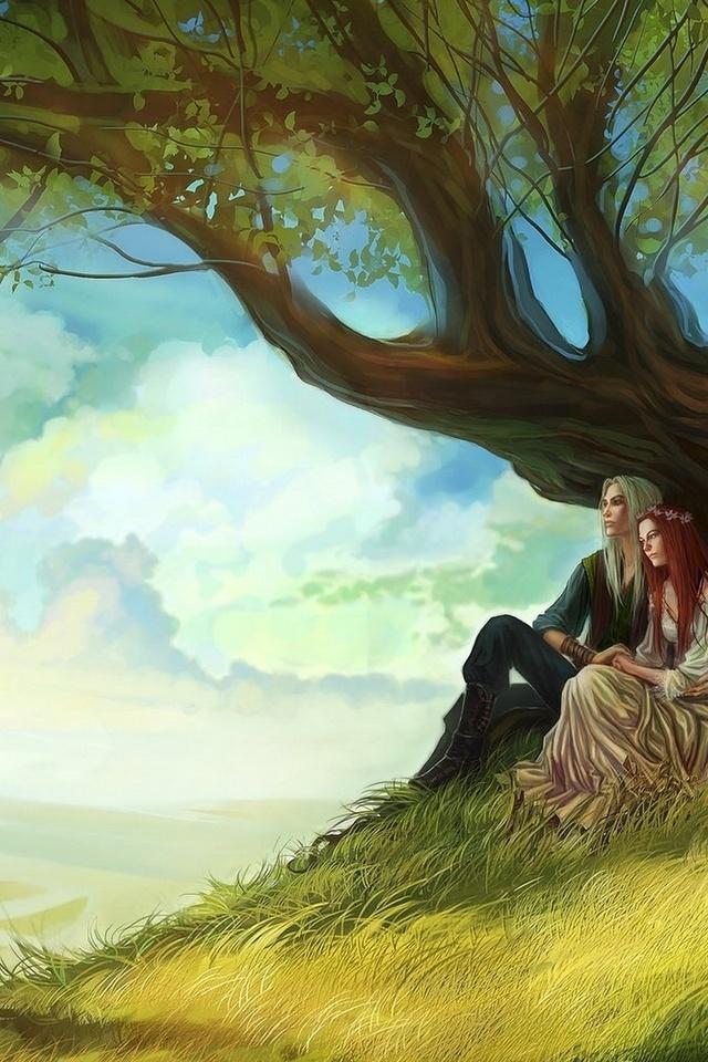 влюбленная пара, anndr, Арт, дерево, девушка