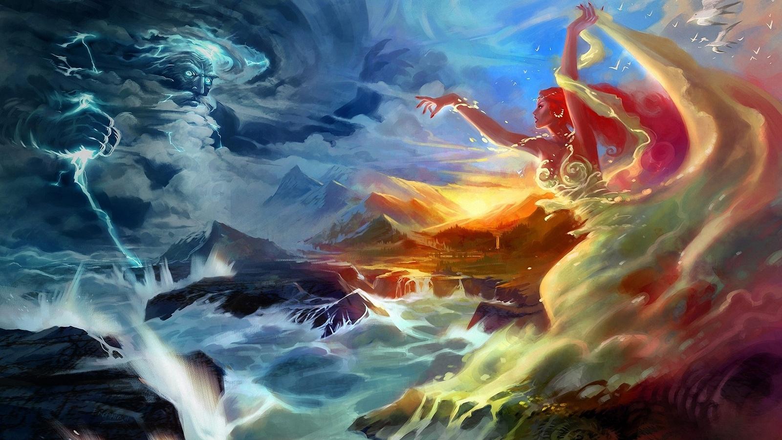 девушка, jian guo, боги, молния, чайки, горы, буря, Арт, море
